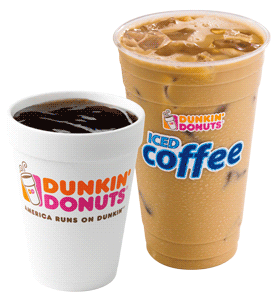 Dunkin Donut coffee and iced coffee